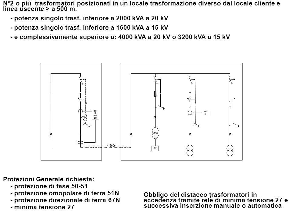 N°2 o più trasformatori posizionati in un locale trasformazione diverso dal locale cliente e linea uscente > a 500 m. - potenza singolo trasf. inferio