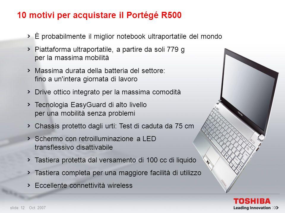 slide: 11 Oct. 2007 Caratteristiche: Il primo notebook al mondo dotato di uno schermo con retroilluminazione a LED transflessivo disattivabile Per gar