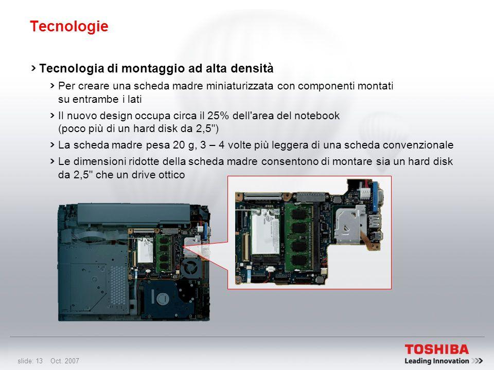 slide: 12 Oct. 2007 È probabilmente il miglior notebook ultraportatile del mondo Piattaforma ultraportatile, a partire da soli 779 g per la massima mo