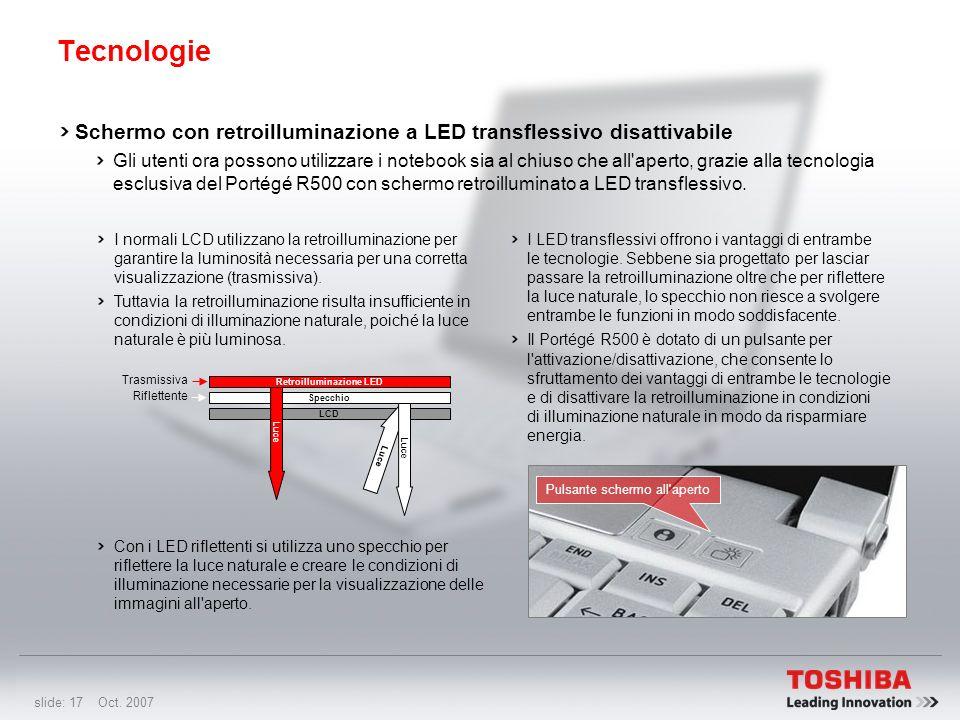slide: 16 Oct. 2007 Tecnologie Protezione dell'unità DVD SuperMulti Le scanalature sulla base proteggono l'unità DVD SuperMulti aumentando la durata e