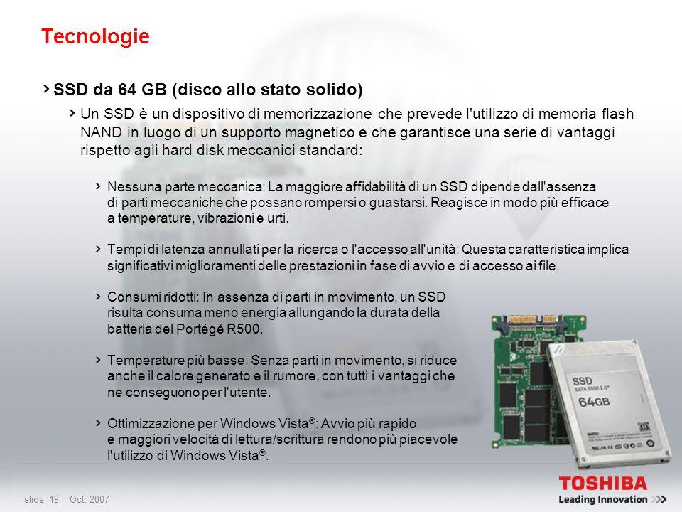 slide: 18 Oct. 2007 Tecnologie Unità DVD SuperMulti da 7 mm Primo notebook al mondo a utilizzare la nuova unità da 7 mm Il Portégé R500 resta supersot