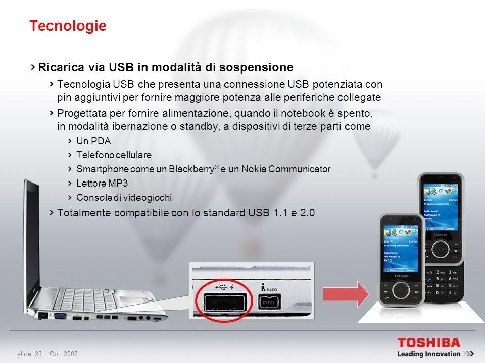 slide: 22 Oct. 2007 Tecnologie Processore grafico Intel ® Graphics Media Accelerator 950 (Intel ® GMA 950) Un motore grafico intelligente e reattivo i