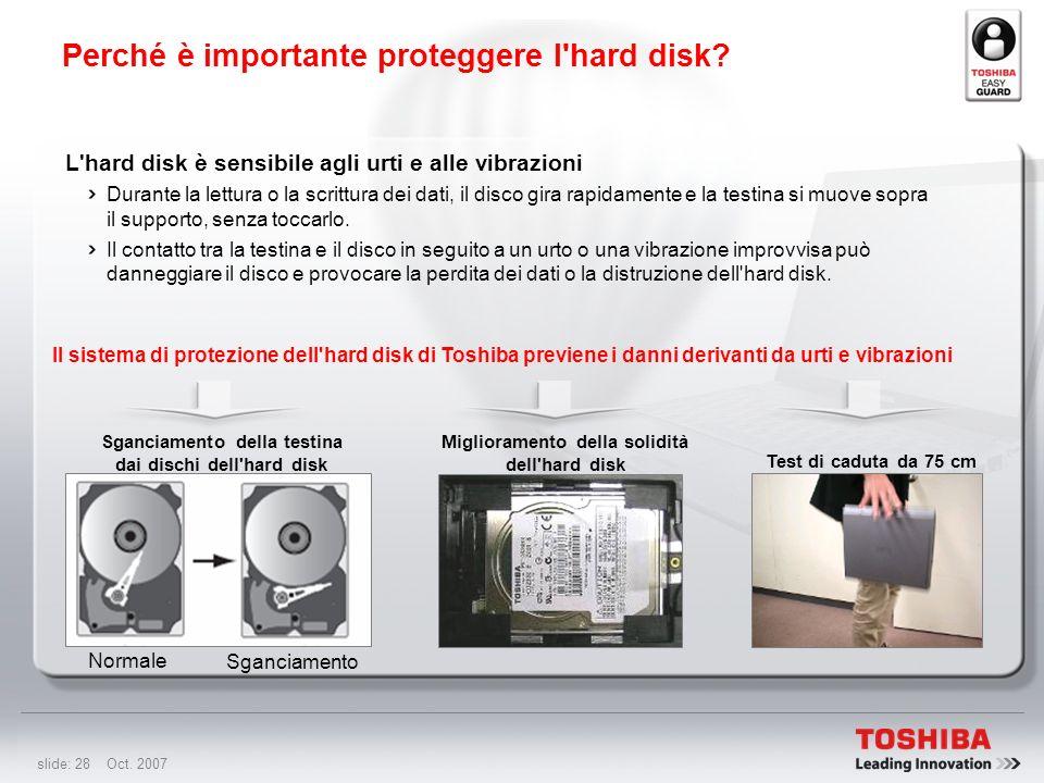 slide: 27 Oct. 2007 Protezione dell'hard disk da impatti, vibrazioni e altro, per ridurre il rischio di perdita di dati. Accelerometro 3D Il sistema d