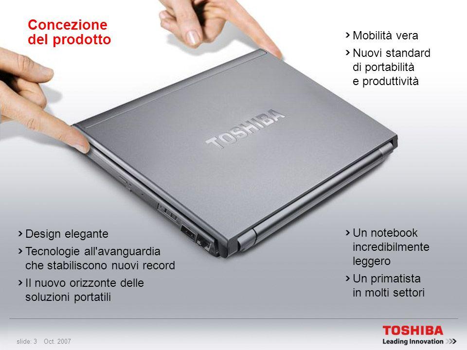 slide: 2 Oct. 2007 Toshiba EasyGuard: Soluzione portatile senza problemi Specifiche Test HALT Tecnologie 10 motivi per acquistare il Portégé R500 Cara