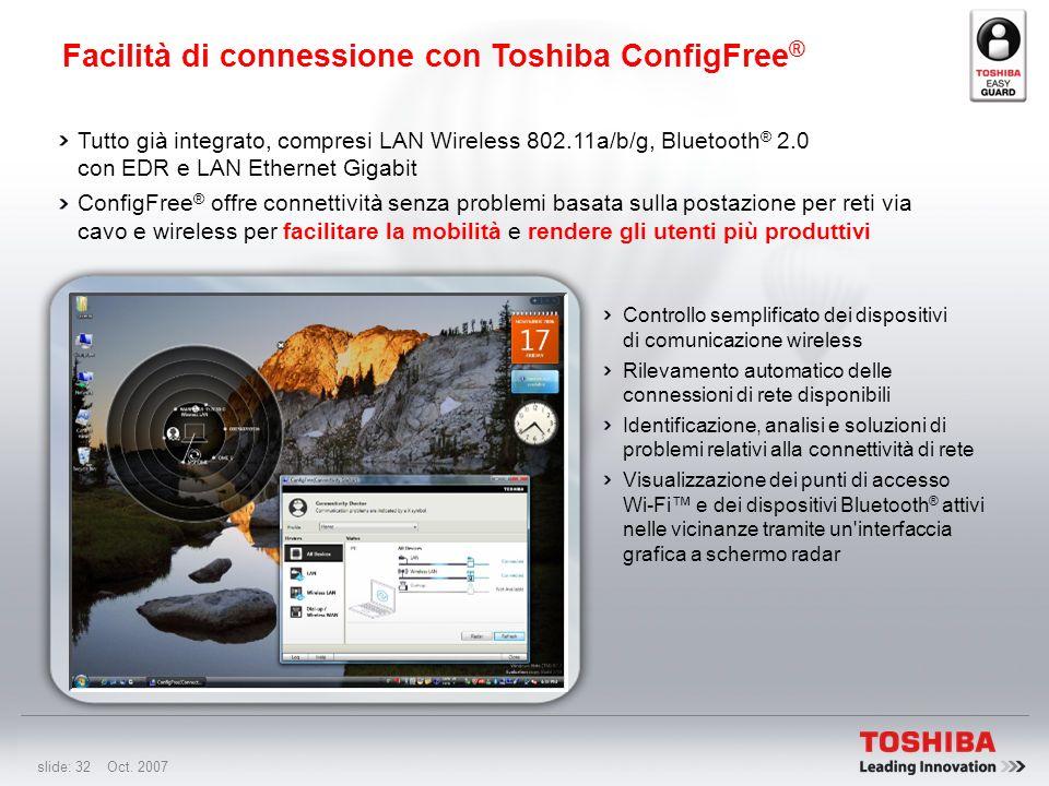 slide: 31 Oct. 2007 Antifurto Toshiba Protection Timer Utility password BIOS attivabile con un timer per la prevenzione dell'accesso al sistema non au