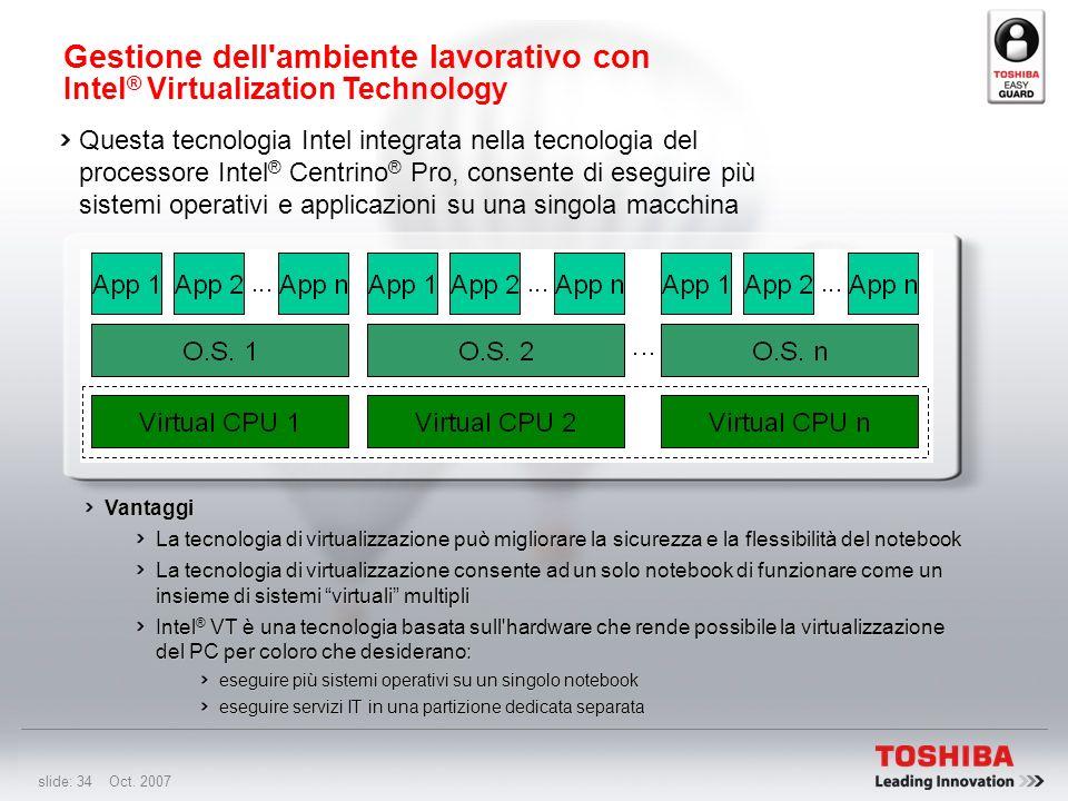 slide: 33 Oct. 2007 Sommario delle principali funzionalità di Toshiba ConfigFree ® Consente di passare con facilità da una configurazione di rete all'