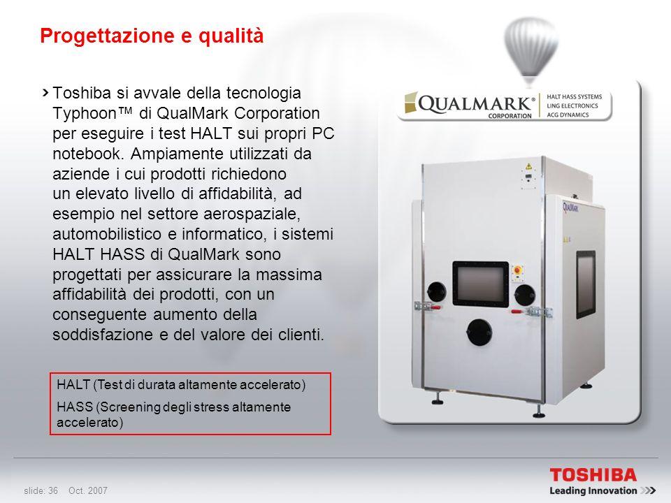 slide: 35 Oct. 2007 Test HALT Test HALT: Test di durata altamente accelerato Miglioramento introdotto: Test HALT implementato. Il test HALT è una comb