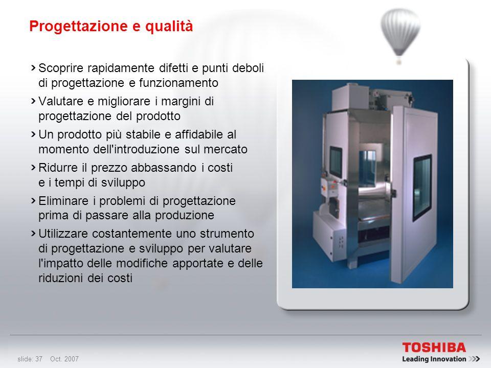 slide: 36 Oct. 2007 Progettazione e qualità Toshiba si avvale della tecnologia Typhoon di QualMark Corporation per eseguire i test HALT sui propri PC