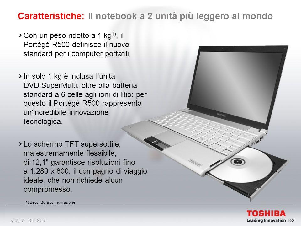 slide: 6 Oct. 2007 Caratteristiche: Notebook da 12,1 pollici più leggero al mondo Con 779 g 1), il Portégé R500 dotato di SSD (Solid State Drive, disc