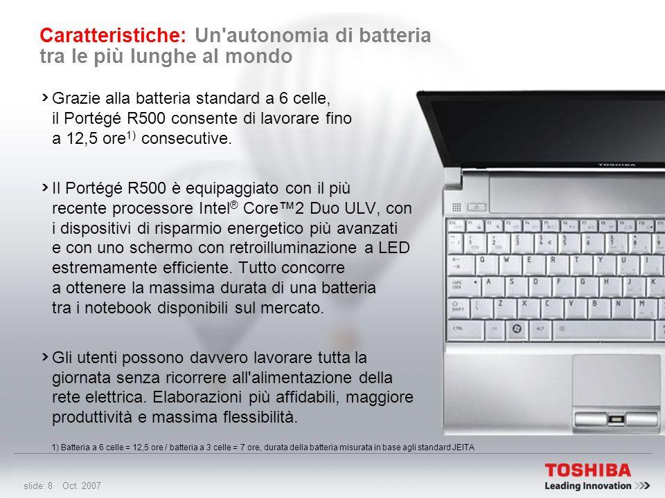 slide: 7 Oct. 2007 Caratteristiche: Il notebook a 2 unità più leggero al mondo 1) Secondo la configurazione Con un peso ridotto a 1 kg 1), il Portégé