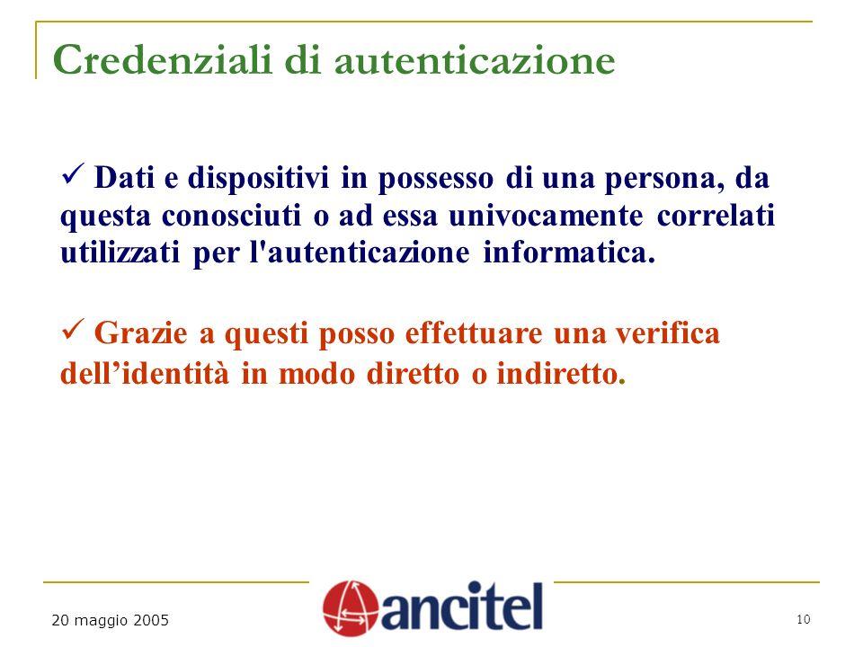 10 20 maggio 2005 Credenziali di autenticazione Dati e dispositivi in possesso di una persona, da questa conosciuti o ad essa univocamente correlati u