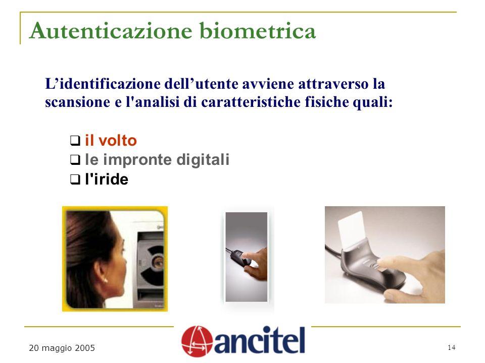 14 20 maggio 2005 Autenticazione biometrica Lidentificazione dellutente avviene attraverso la scansione e l'analisi di caratteristiche fisiche quali: