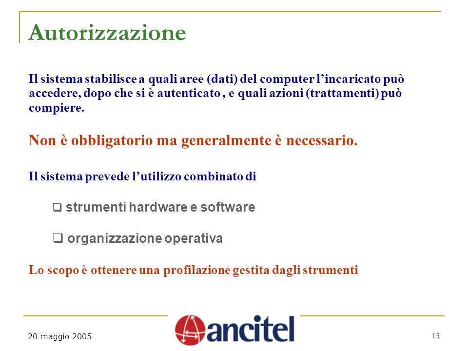 15 20 maggio 2005 Autorizzazione Il sistema stabilisce a quali aree (dati) del computer lincaricato può accedere, dopo che si è autenticato, e quali a