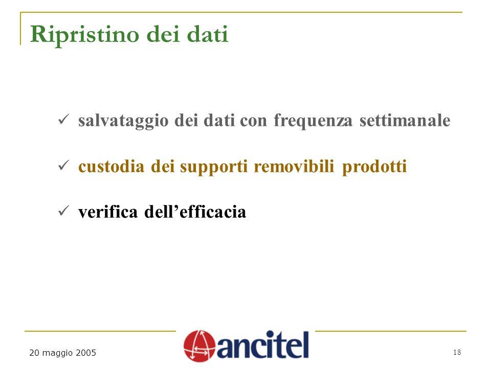 18 20 maggio 2005 Ripristino dei dati salvataggio dei dati con frequenza settimanale custodia dei supporti removibili prodotti verifica dellefficacia