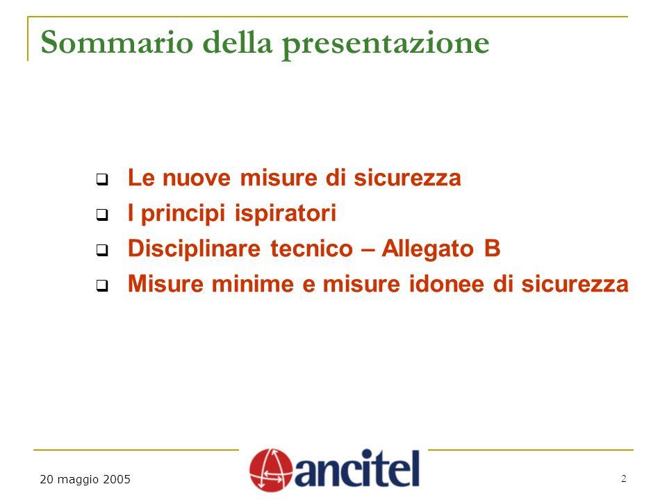 2 20 maggio 2005 Sommario della presentazione Le nuove misure di sicurezza I principi ispiratori Disciplinare tecnico – Allegato B Misure minime e mis