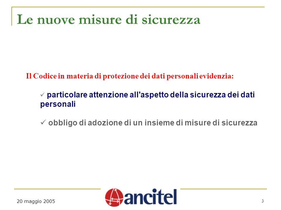 3 20 maggio 2005 Le nuove misure di sicurezza Il Codice in materia di protezione dei dati personali evidenzia: particolare attenzione all'aspetto dell