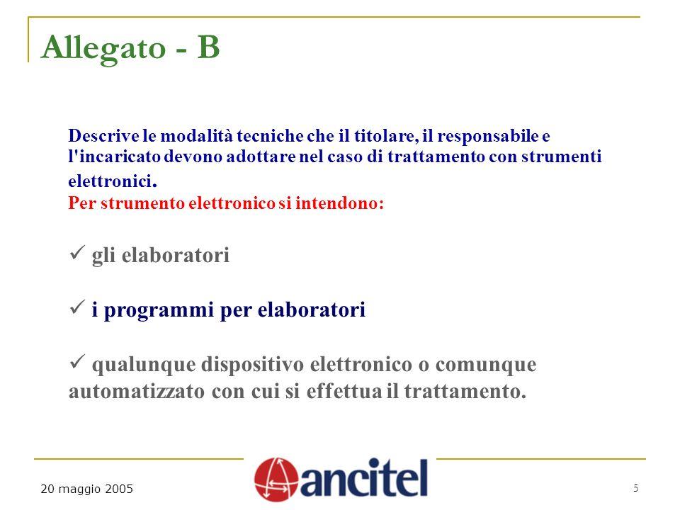 5 20 maggio 2005 Allegato - B Descrive le modalità tecniche che il titolare, il responsabile e l'incaricato devono adottare nel caso di trattamento co