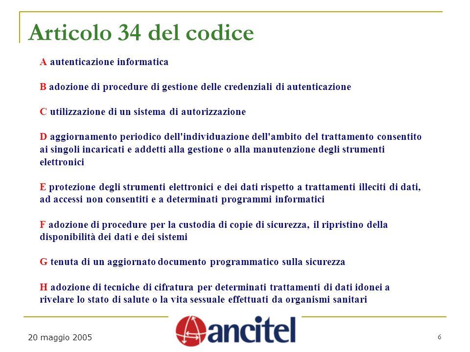 6 20 maggio 2005 Articolo 34 del codice A autenticazione informatica B adozione di procedure di gestione delle credenziali di autenticazione C utilizz