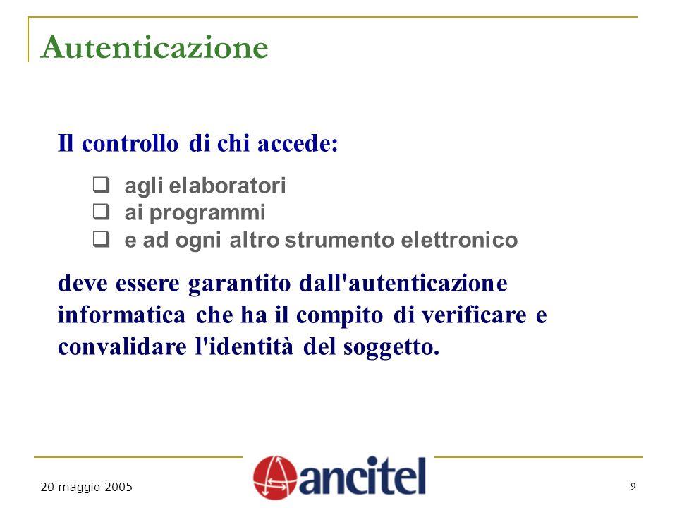 9 20 maggio 2005 Autenticazione Il controllo di chi accede: agli elaboratori ai programmi e ad ogni altro strumento elettronico deve essere garantito