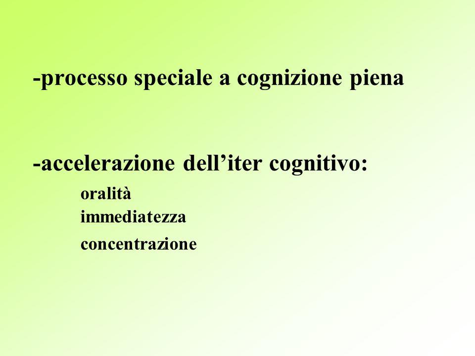 -processo speciale a cognizione piena -accelerazione delliter cognitivo: oralità immediatezza concentrazione