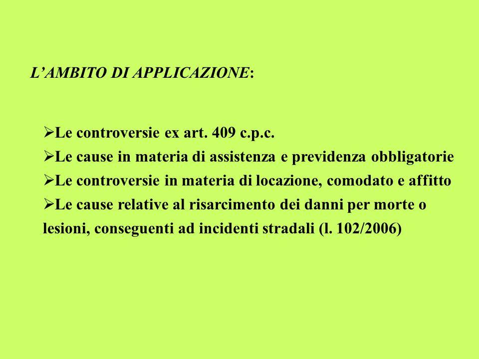 LAMBITO DI APPLICAZIONE: Le controversie ex art. 409 c.p.c. Le cause in materia di assistenza e previdenza obbligatorie Le controversie in materia di