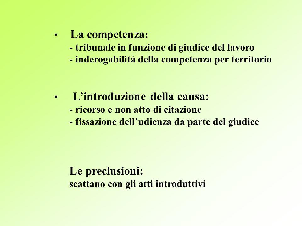 La competenza : - tribunale in funzione di giudice del lavoro - inderogabilità della competenza per territorio Lintroduzione della causa: - ricorso e