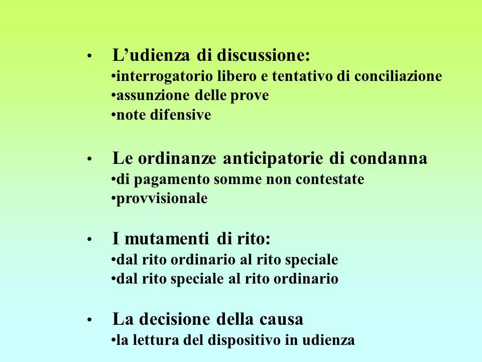 Ludienza di discussione: interrogatorio libero e tentativo di conciliazione assunzione delle prove note difensive Le ordinanze anticipatorie di condan