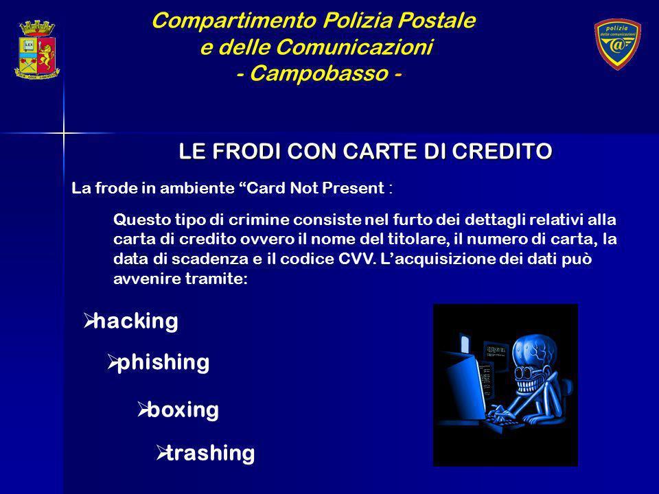 Compartimento Polizia Postale e delle Comunicazioni - Campobasso - LE FRODI CON CARTE DI CREDITO La frode in ambiente Card Not Present : Questo tipo d