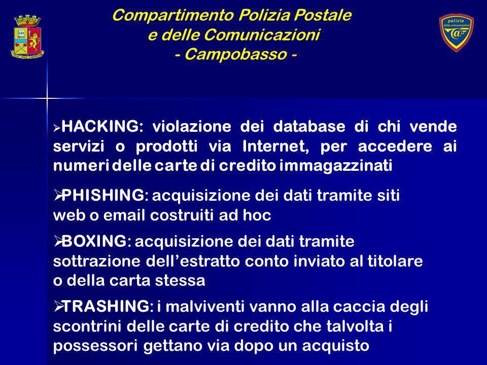 Compartimento Polizia Postale e delle Comunicazioni - Campobasso - HACKING: violazione dei database di chi vende servizi o prodotti via Internet, per