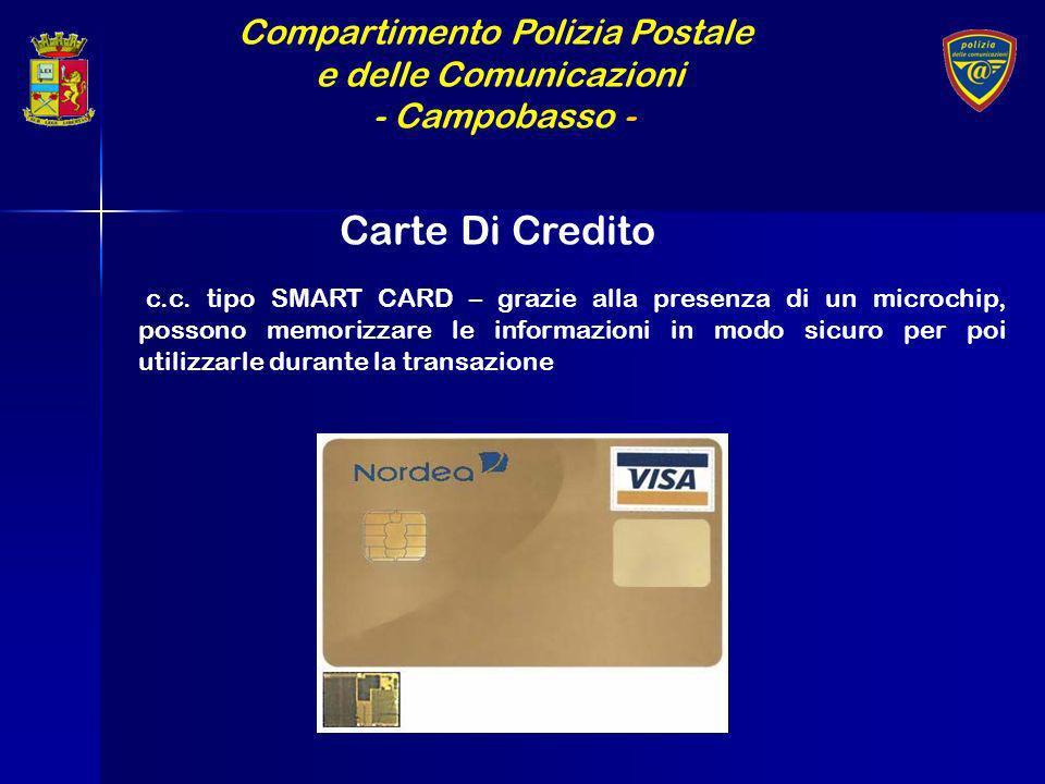 Compartimento Polizia Postale e delle Comunicazioni - Campobasso - Carte Di Credito c.c. tipo SMART CARD – grazie alla presenza di un microchip, posso