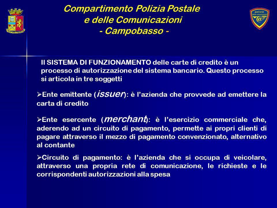 Compartimento Polizia Postale e delle Comunicazioni - Campobasso - Il SISTEMA DI FUNZIONAMENTO delle carte di credito è un processo di autorizzazione