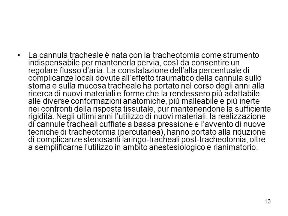 La cannula tracheale è nata con la tracheotomia come strumento indispensabile per mantenerla pervia, così da consentire un regolare flusso daria.