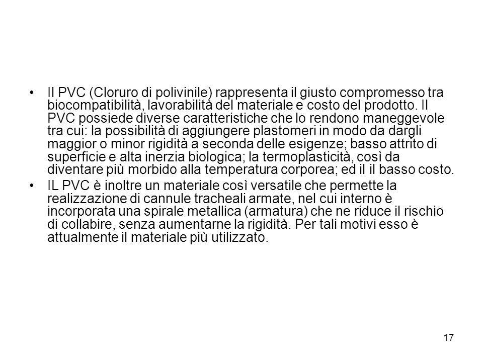 Il PVC (Cloruro di polivinile) rappresenta il giusto compromesso tra biocompatibilità, lavorabilità del materiale e costo del prodotto.
