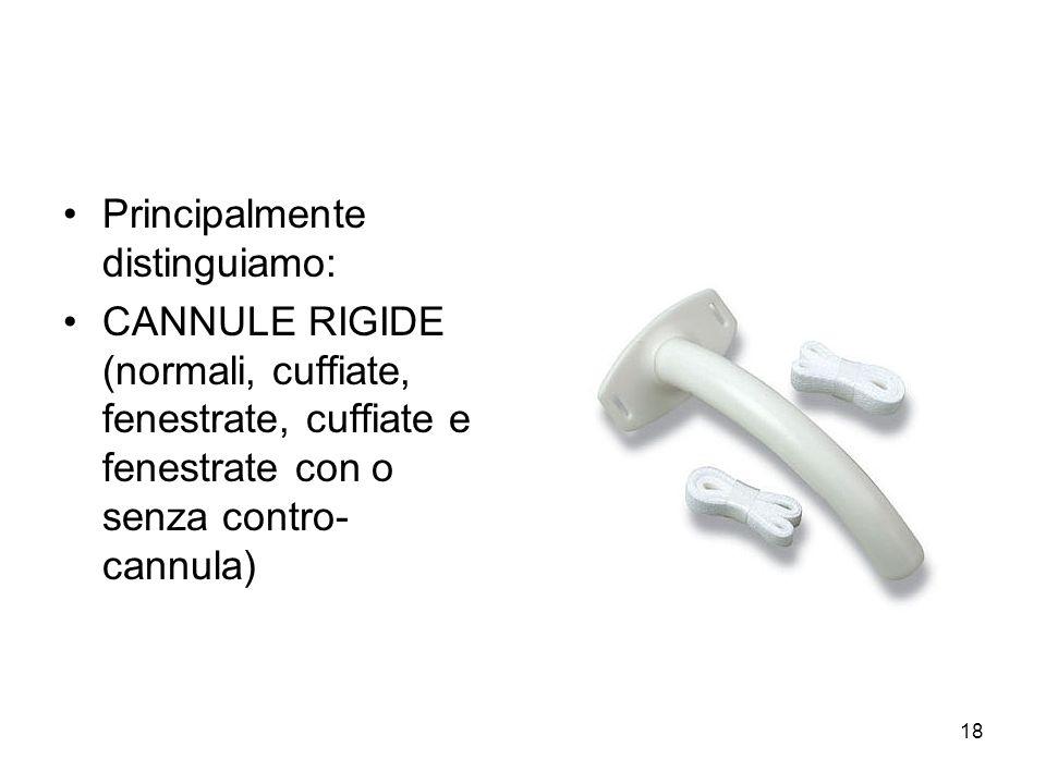Principalmente distinguiamo: CANNULE RIGIDE (normali, cuffiate, fenestrate, cuffiate e fenestrate con o senza contro- cannula) 18