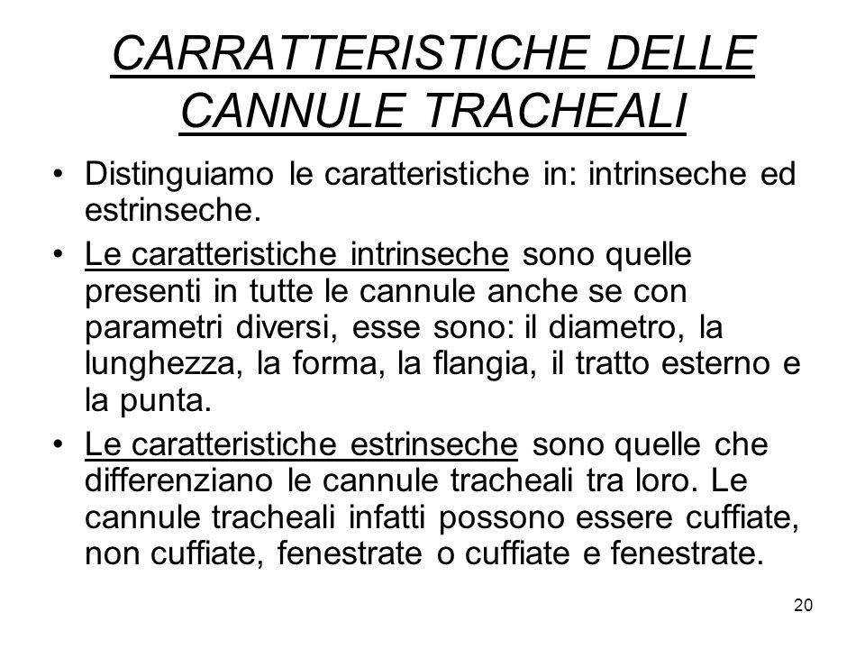 CARRATTERISTICHE DELLE CANNULE TRACHEALI Distinguiamo le caratteristiche in: intrinseche ed estrinseche.