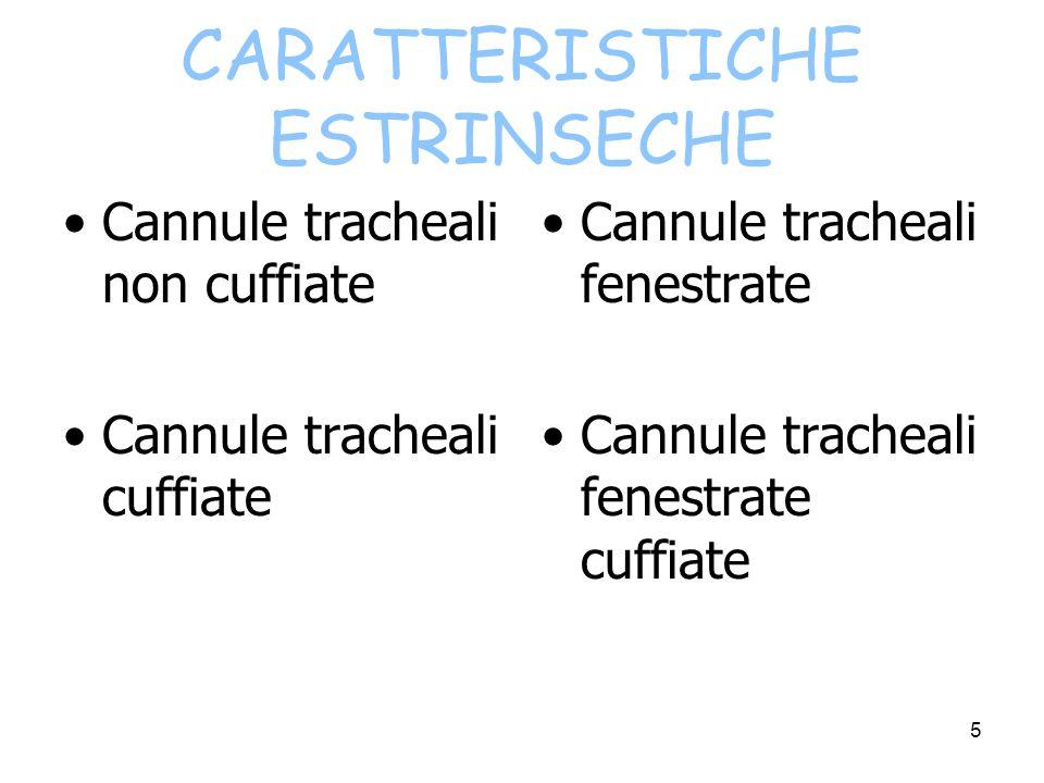 CARATTERISTICHE ESTRINSECHE Cannule tracheali non cuffiate Cannule tracheali cuffiate Cannule tracheali fenestrate Cannule tracheali fenestrate cuffiate 5