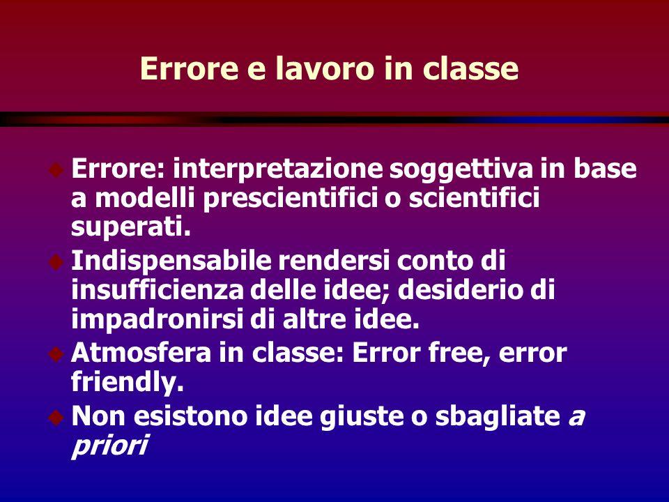 Errore e lavoro in classe u Errore: interpretazione soggettiva in base a modelli prescientifici o scientifici superati.