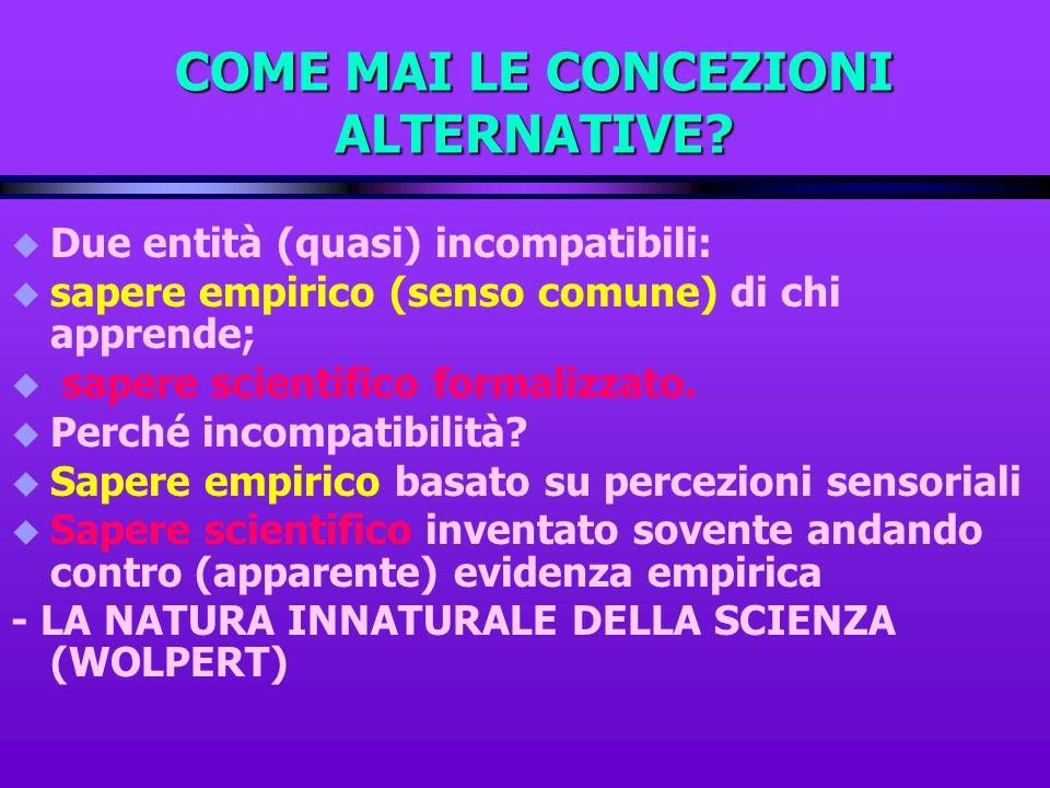 COME MAI LE CONCEZIONI ALTERNATIVE? u Due entità (quasi) incompatibili: u sapere empirico (senso comune) di chi apprende; u sapere scientifico formali