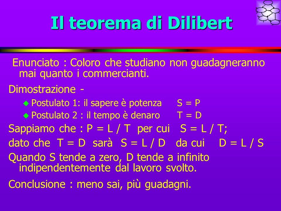 Il teorema di Dilibert Enunciato : Coloro che studiano non guadagneranno mai quanto i commercianti. Dimostrazione - u Postulato 1: il sapere è potenza