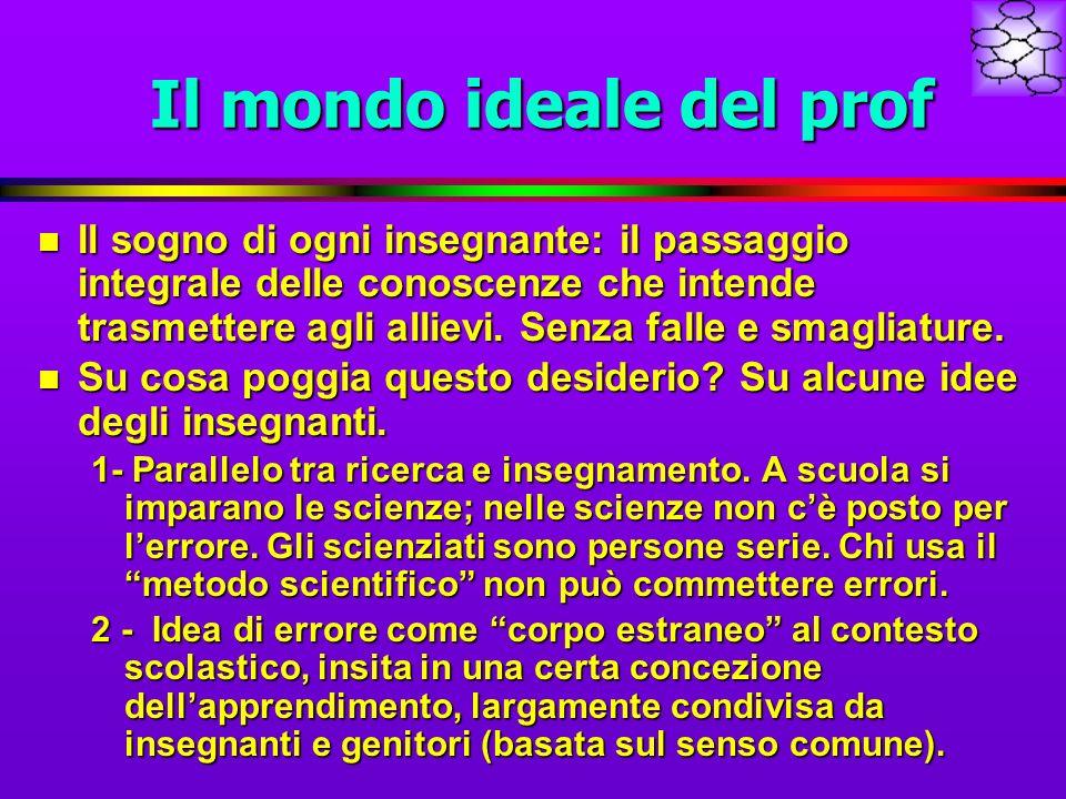 Il mondo ideale del prof n Il sogno di ogni insegnante: il passaggio integrale delle conoscenze che intende trasmettere agli allievi.