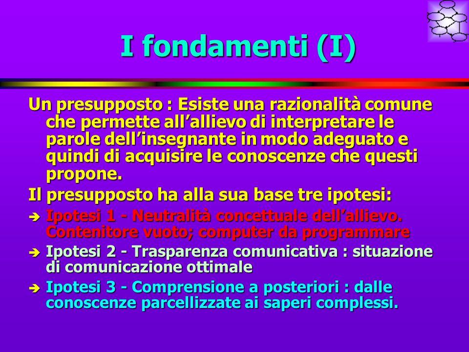 I fondamenti (I) Un presupposto : Esiste una razionalità comune che permette allallievo di interpretare le parole dellinsegnante in modo adeguato e quindi di acquisire le conoscenze che questi propone.