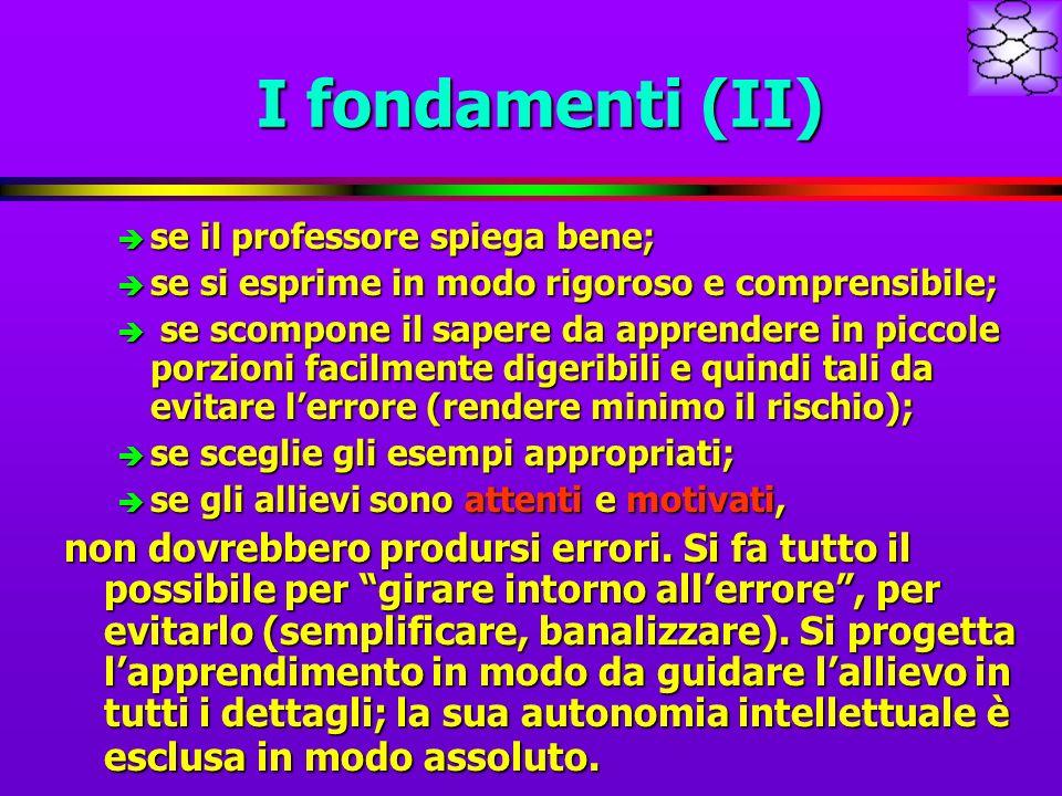 I fondamenti (II) è se il professore spiega bene; è se si esprime in modo rigoroso e comprensibile; è se scompone il sapere da apprendere in piccole p
