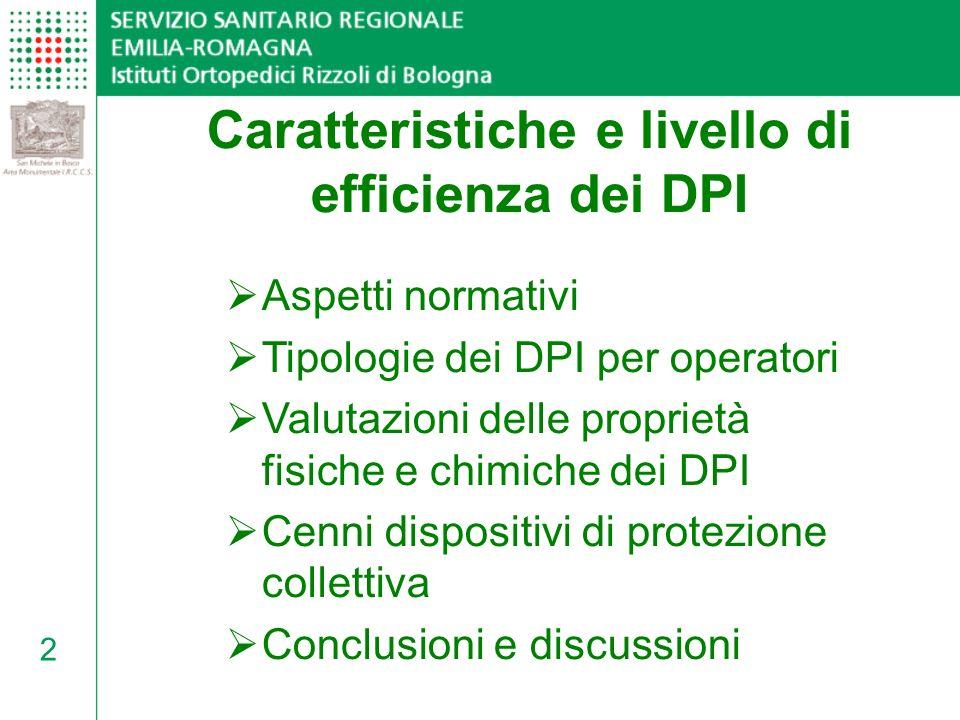 33 Aspetti normativi Tipologie dei DPI per operatori Valutazioni delle proprietà fisiche e chimiche dei DPI Cenni dispositivi di protezione collettiva Conclusioni e discussioni