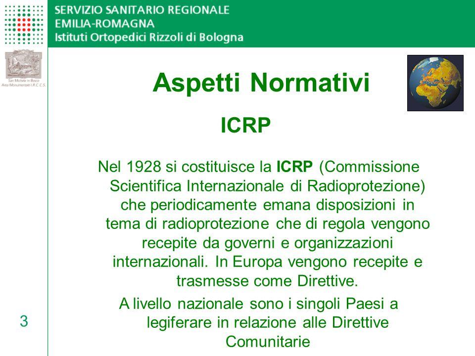 4 DallICRP ai Decreti Legislativi Le disposizioni ICRP, recepite come Direttive Comunitarie, sono state accolte in Italia dai seguenti Decreti Legge: D.Lgs.