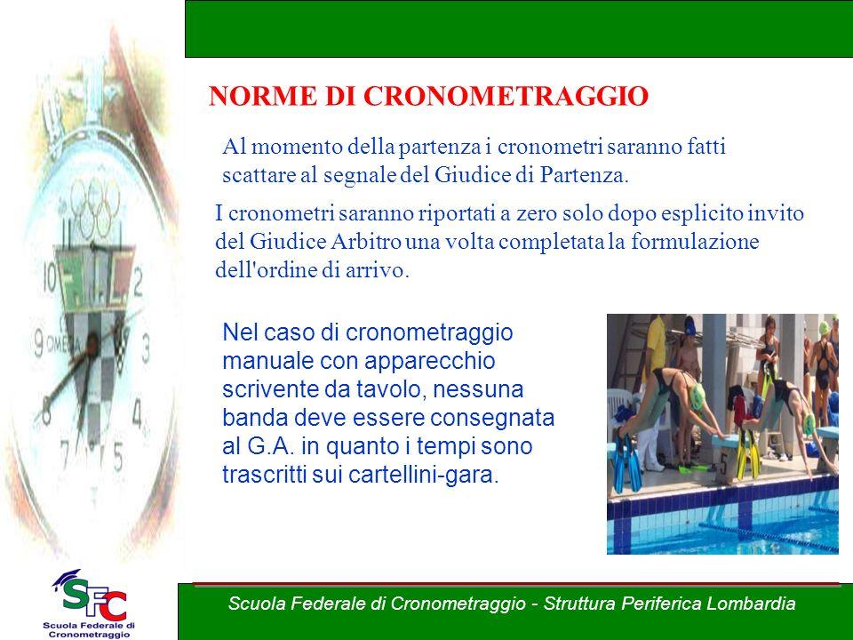 Corso Allievi cronometristi - nuoto A cura di Andrea Pederzoli Scuola Federale di Cronometraggio - Struttura Periferica Lombardia NORME DI CRONOMETRAG