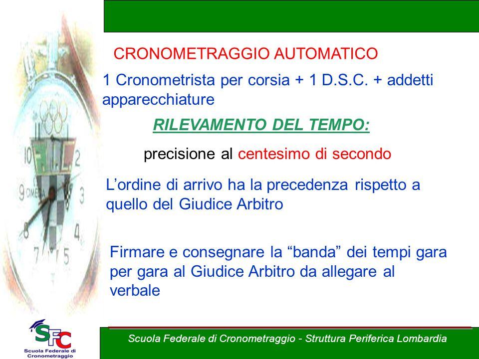 A cura di Andrea Pederzoli Scuola Federale di Cronometraggio - Struttura Periferica Lombardia CRONOMETRAGGIO AUTOMATICO 1 Cronometrista per corsia + 1