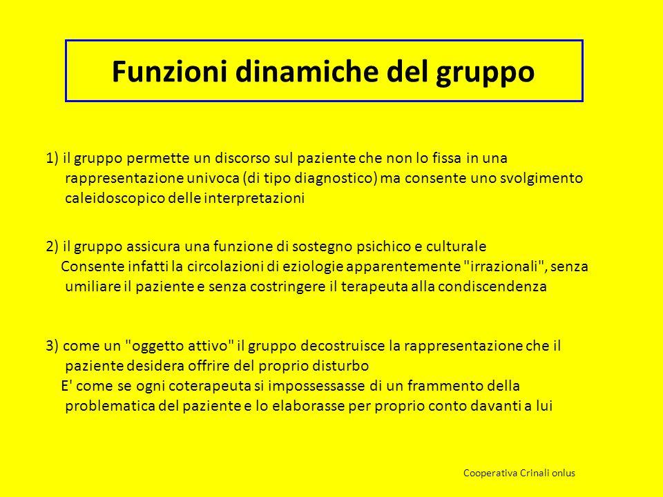 Funzioni dinamiche del gruppo 1) il gruppo permette un discorso sul paziente che non lo fissa in una rappresentazione univoca (di tipo diagnostico) ma