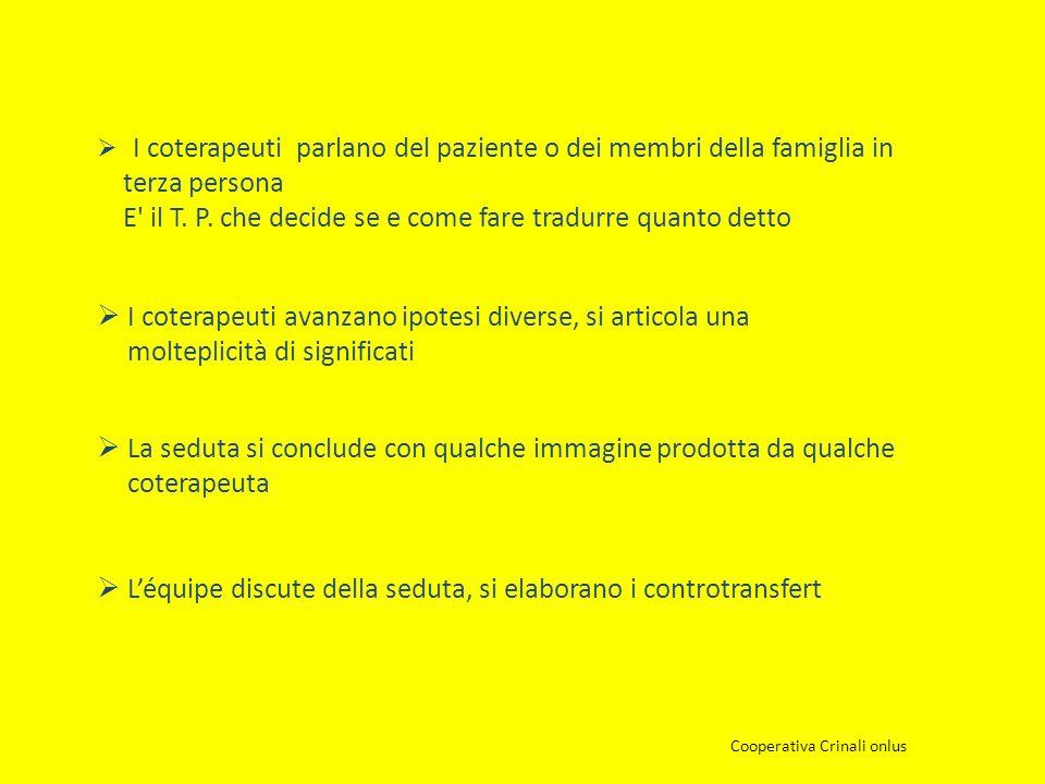 I coterapeuti parlano del paziente o dei membri della famiglia in terza persona E' il T. P. che decide se e come fare tradurre quanto detto Cooperativ