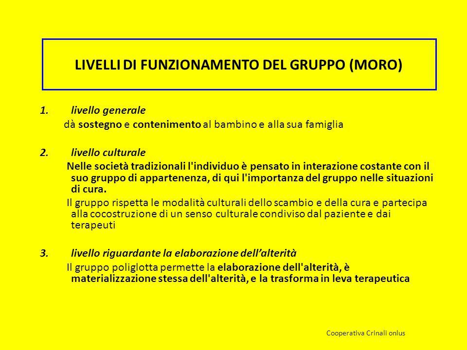 LIVELLI DI FUNZIONAMENTO DEL GRUPPO (MORO) 1.livello generale dà sostegno e contenimento al bambino e alla sua famiglia 2.livello culturale Nelle soci