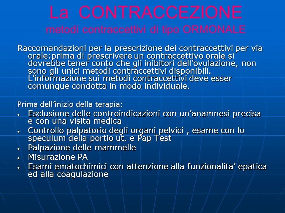 Raccomandazioni per la prescrizione dei contraccettivi per via orale:prima di prescrivere un contraccettivo orale si dovrebbe tener conto che gli inibitori dellovulazione, non sono gli unici metodi contraccettivi disponibili.